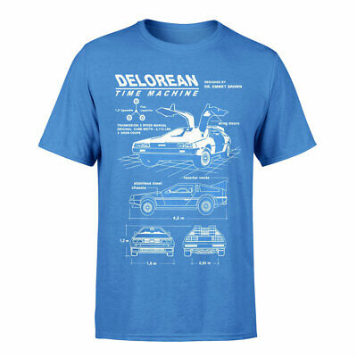Official Back To The Future Movie Delorean Blue Print T-Shirt