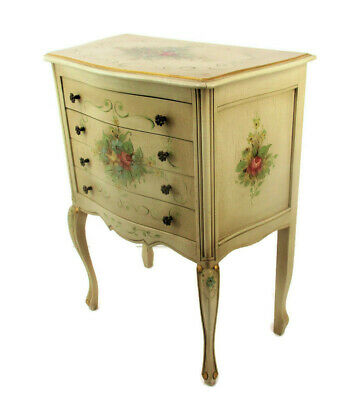 Hollywood Regency French Provincial White Crackled Chest of Drawers Hand Painted