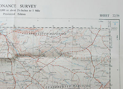 1949 old vintage OS Ordnance Survey 1:25000 First Series Map SN 56 Llanon 22/56