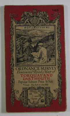 1928 Old OS Ordnance Survey One-Inch Popular Edition Map 145 Torquay & Dartmouth