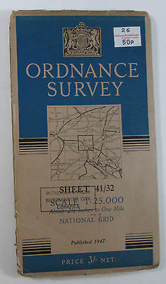 1947 OS Ordnance Survey 1:25000 First Series provisional Map SU 32 Romsey 41/32