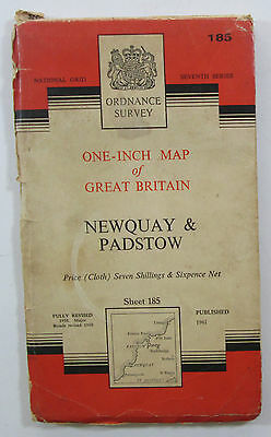 1960 old OS Ordnance Survey one-inch seventh series map 185 Newquay Padstow clth