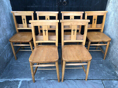 Set of Six Chapel or Church Chairs with Cross Back - Delivery Available