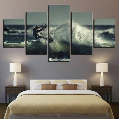 5PCS Sufring Modern Art Oil Painting Canvas Print Wall Home Decor Unframed