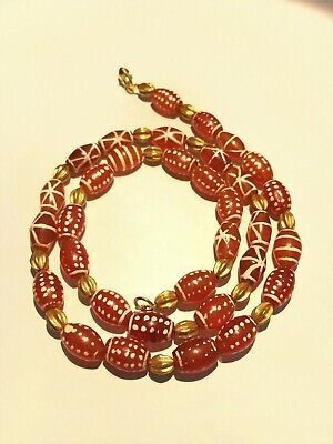 ancient etched carnelian bead necklace