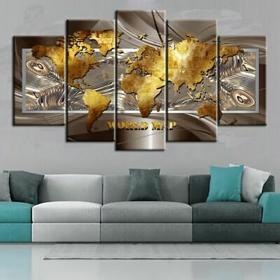 5PCS World Map Modern Art Oil Painting Canvas Print Wall Home Decor Unframed
