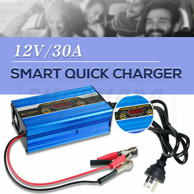 12V 30A Battery Charger 30 Amp Smart Charge Car ATV 4WD Boat Caravan Motorcycle
