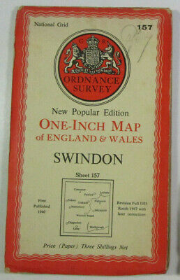 1947 Old OS Ordnance Survey New Popular Edition One-Inch Map Sheet 157 Swindon
