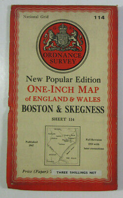 1947 Old OS Ordnance Survey New Popular Edition One-Inch Map 114 Boston Skegness