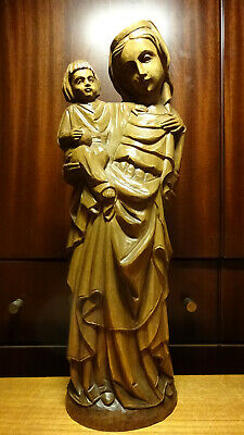 """✜ 16"""" Antique Gothic Hand Carved Wooden Our Lady Virgin Mary + Jesus Statue ✜"""