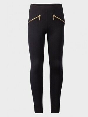 NEW Girls Kids Next Black Leggings with Gold Zip Age 4 5 6 7 8 9 10 11 12 13 14
