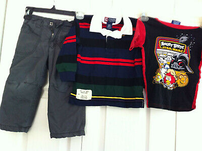 Lot Of 3 Boys Clothing Angry Birds Chaps Shirt Pants 100% Cotton Size 24 months