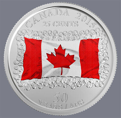 """""""Free""""   2015 Canada  25 Cent Queen Elizabeth  Maple Leaf Coloured Flag Coin"""