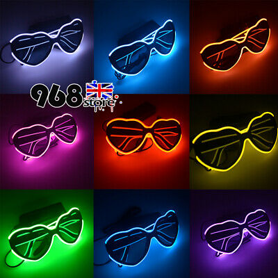 LED EL Wire Heart Glasses Light Up Sunglasses Eyewear Shades for Nightclub Party