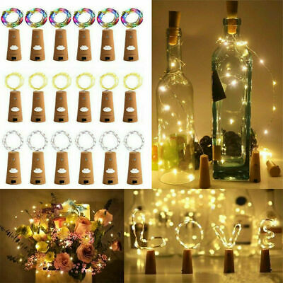 LED Bottle Fairy String Lights Battery Cork Shaped Christmas Wedding Party 20 2m