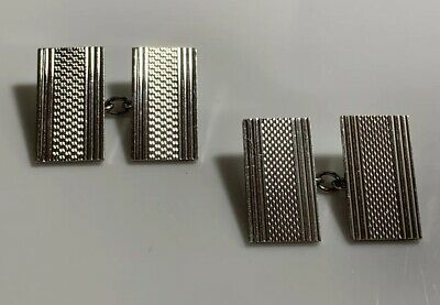 Quality 1950's Hallmarked Sterling Silver Patterned Rectangular Cufflinks