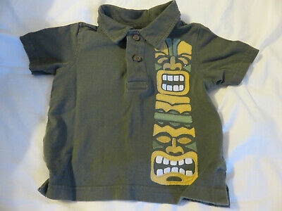 Little Boy's Gymboree Tiki Man Olive Green Collared Short Sleeve Shirt Size 6-12