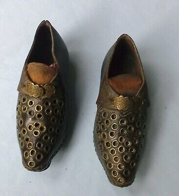 VERY RARE LANCASHIRE CHILD'S DANCING CLOGS with PUNCHED DECORATION BRASS EYELETS