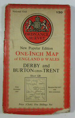 1947 OS Ordnance Survey New Popular Ed One-Inch clt Map 120 Derby Stoke on Trent