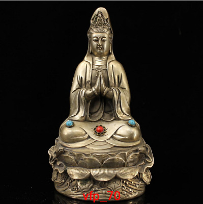 "9.2"" old China antique Pure copper Inlaid gemstones Guanyin Buddha statue"