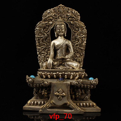 "7.2"" Old China antique Pure copper Inlaid gemstones Sakyamuni Buddha statue"