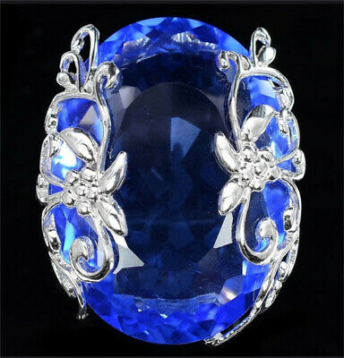 Turkish Handmade 925 Silver Sapphire Ring Women Wedding Jewelry Gift Size 6-10