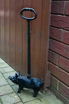 Black Finish Cast Iron Pig Shape Door Porter Door Stop