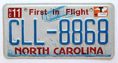 "North Carolina ""First in Flight"" License Plate, Bi-Plane, CLL-8868"