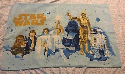 VINTAGE 1977 STAR WARS Pillowcase Darth Vader C-3PO Luke R2D2 Leia Han Chewbacca