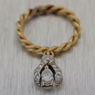 1930's Antique Art Deco Platinum & 14k Yellow Gold Diamond Dangle Ring
