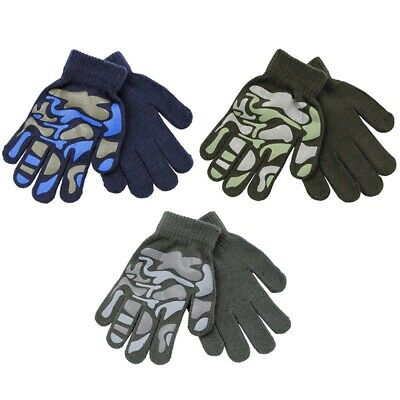 Boys Camouflage Grip Magic Gloves One Size 15 cm Blue Green Grey NEW Kids Infant