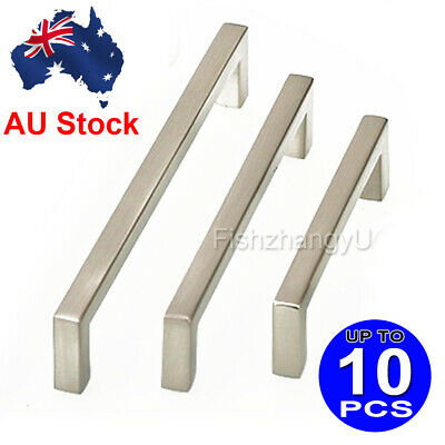 Stainless Steel Drawer Pulls Kitchen Cabinet Handles Square Cupboard Knobs AU