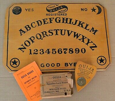 Rare Antique Wooden Ouija Board 1920 William Fuld Baltimore w/ Planchette & Book