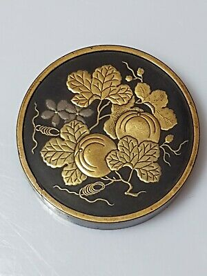 A lovely Meiji Period Circular Lacquered Incense Box. (Kobako)