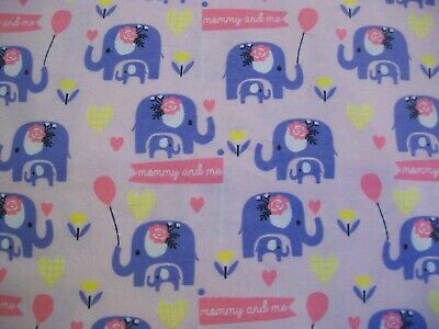 Mommy and Me Elephant Snuggle Cotton Flannel Fabric - BTY - Pink and Purple