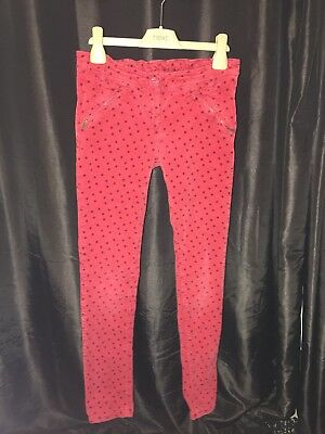 Girls NEXT FINE RED CORDUROY SKINNY JEANS POLKA DOT Age 11years W24 L25