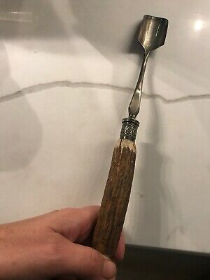 Antique Victorian CHEESE SCOOP ENGLISH Silver plated with ANTLER handle