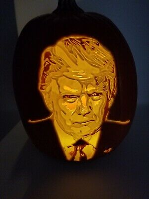 "Donald Trump Face-Carved ""Trumpkin"" Pumpkin for Halloween"