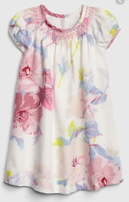 NEW! Baby Gap Girl Floral Puff-Sleeve Dress Ivory Frost 4T Cute