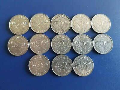 Canada 1922 to 1936 5 Cents George V Canadian Nickels 13 coins - Great Starter