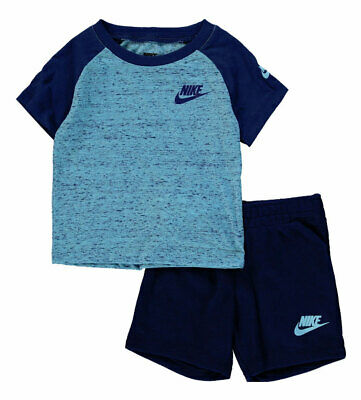 Nike Baby Boys T-Shirt /& Shorts 2 Piece Set Blue Void 100/% Genune Brand New