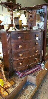 Antique Chest of Drawers Vintage Mahogany Late Georgian William IV Bow Fronted