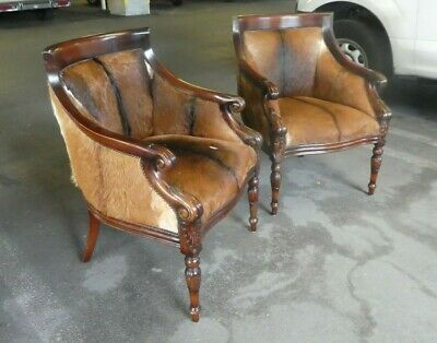 Vintage English Regency Style Club Chairs Upholstered In Natural Cowhide- A Pair