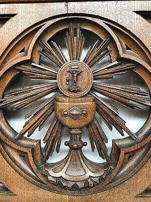 SUMMER SALE ! Exceptional Gothic church Railing Door with monstrance in oak
