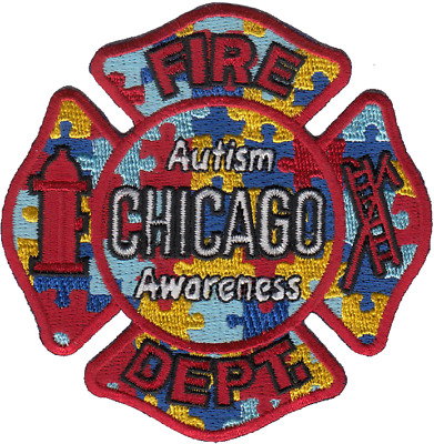 CHICAGO FIRE DEPARTMENT MALTESE PATCH: Autism Awareness
