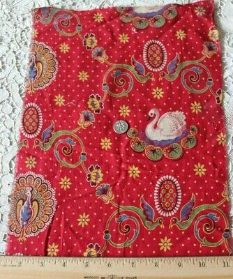 """Rare French Swan & Peacock Antique 19thC Turkey Red Fabric~L-23"""" X W-10"""""""