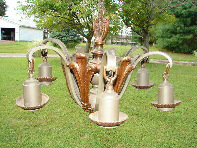 Antique Art Deco Hanging Light Orginal Luster 6 Arms Brass Architectural Nice!