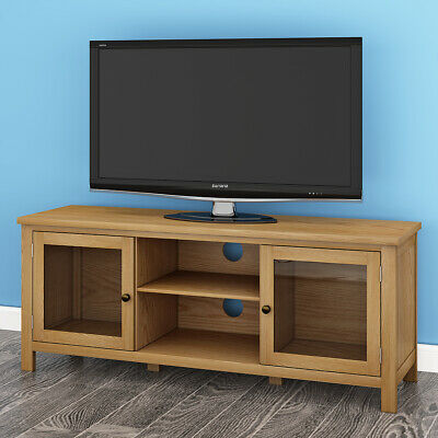 Fabulous Large 120Cm Modern Oak Tv Unit Wooden Tv Stand Cabinet 2 Machost Co Dining Chair Design Ideas Machostcouk