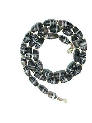 A rare beautiful ancient banded agate   beads Necklace