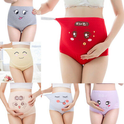 Cartoon women's cotton pregnant high waist briefs underwear maternity panties+q